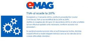 Redcere TVA la eMAG in 2016