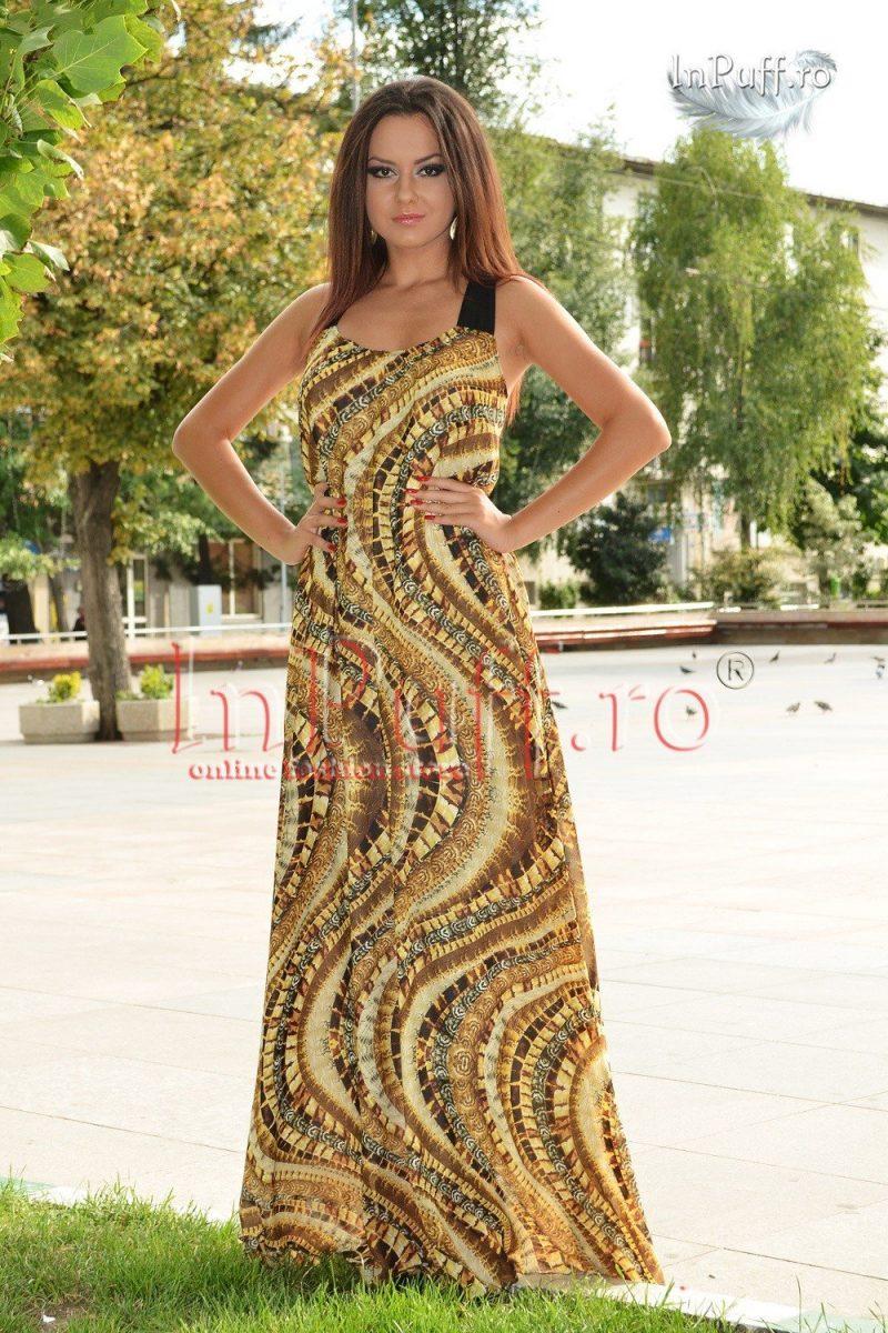 Rochie lunga cu imprimeu maro