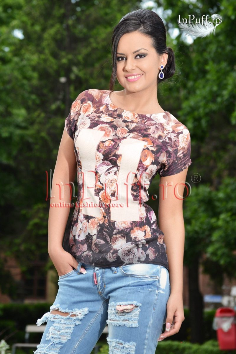 Bluza cu imprimeu floral din voal