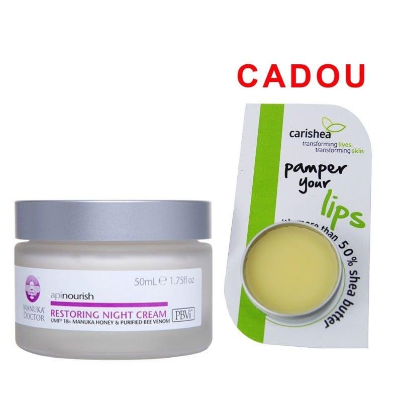 Crema regeneranta de noapte Manuka Doctor Apinourish 50ml + Balsam de buze - Unt de shea, Lime si Me