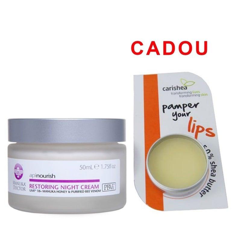 Crema regeneranta de noapte Manuka Doctor Apinourish 50ml + Balsam de buze - Unt de shea, Miere si P