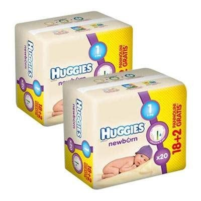 HUGGIES NEW BORN 1 (20) 2-5 KG 1+1
