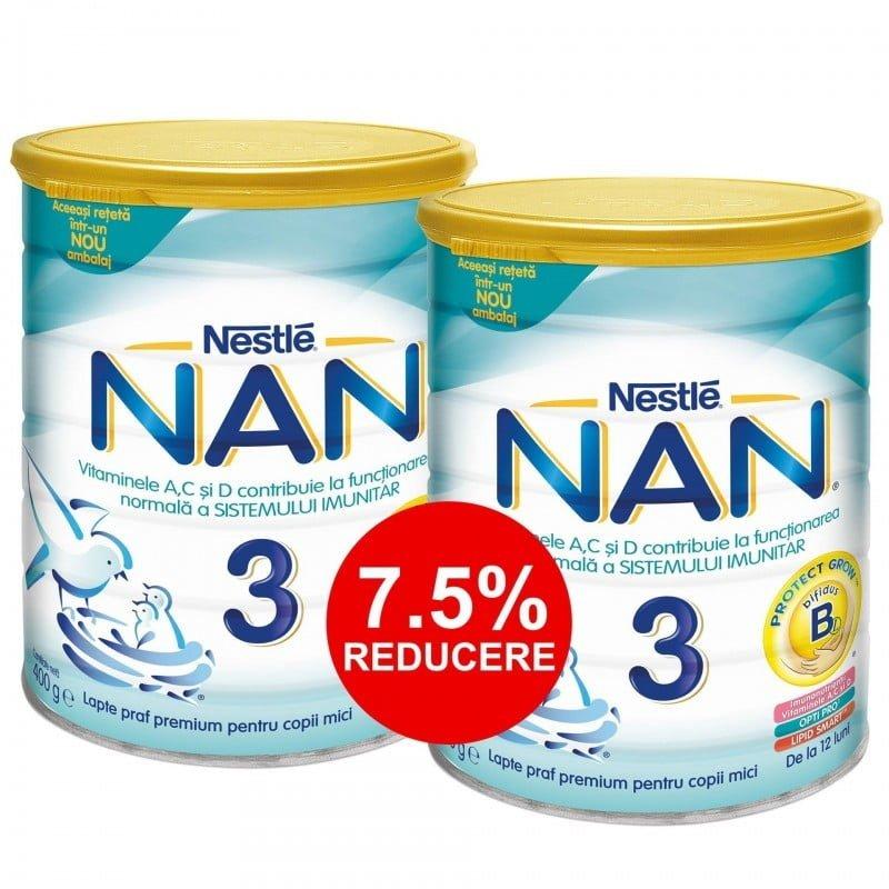 PACHET LAPTE PRAF NESTLE NAN3 2*400G (DE LA 12 LUNI) 7.5% REDUCERE