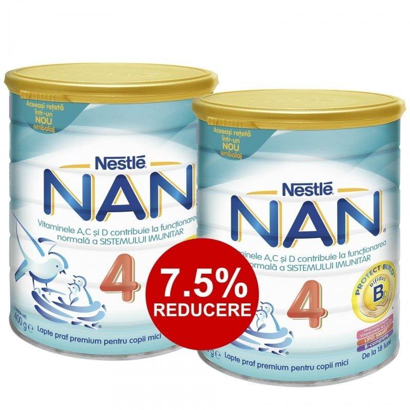 PACHET LAPTE PRAF NESTLE NAN4 2*400G (DE LA 18 LUNI) 7.5% REDUCERE