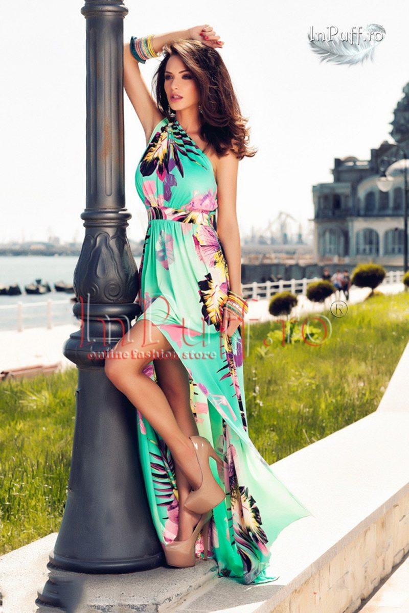 Rochie lunga aqua imprimeu floral