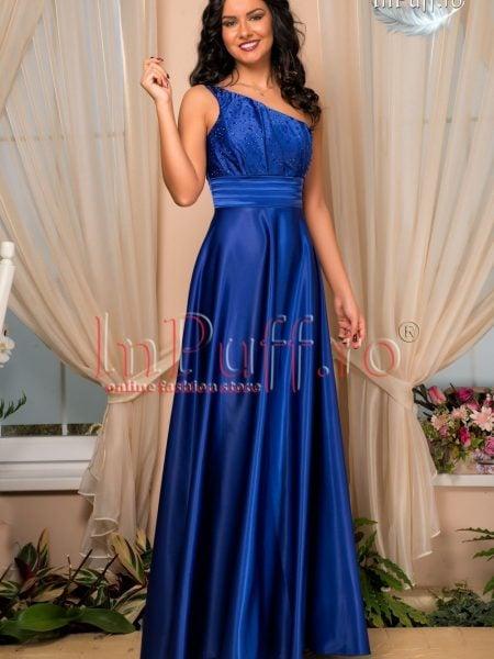 Rochie de seara pe un umar satin albastru