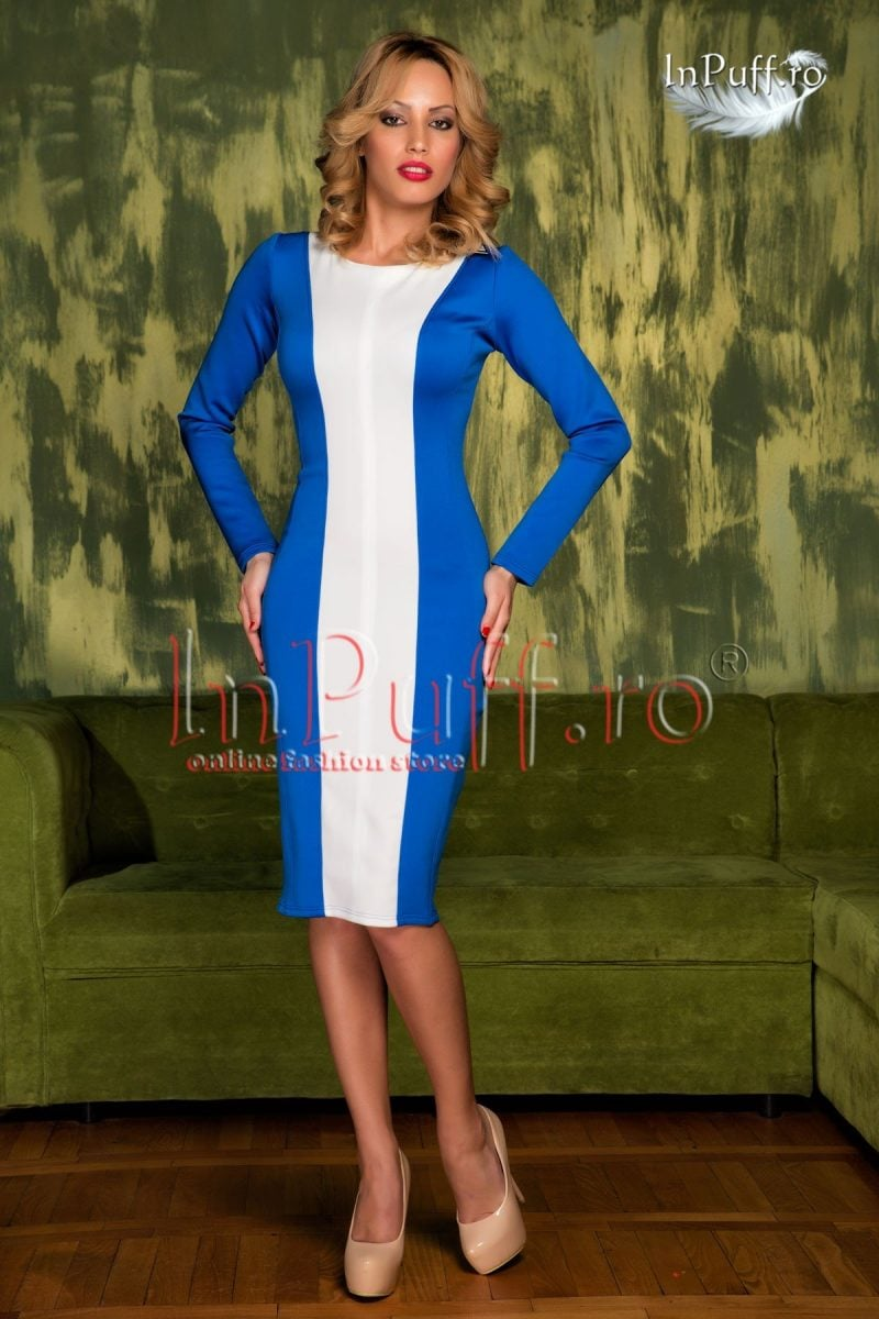 Rochie midi lycra albastra