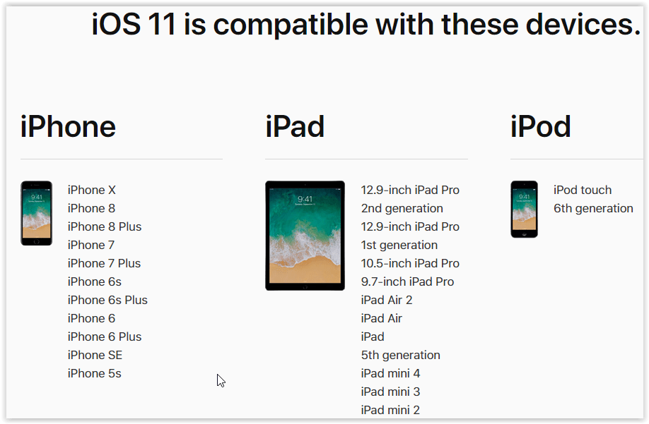Dispozitive compatibile ios 11
